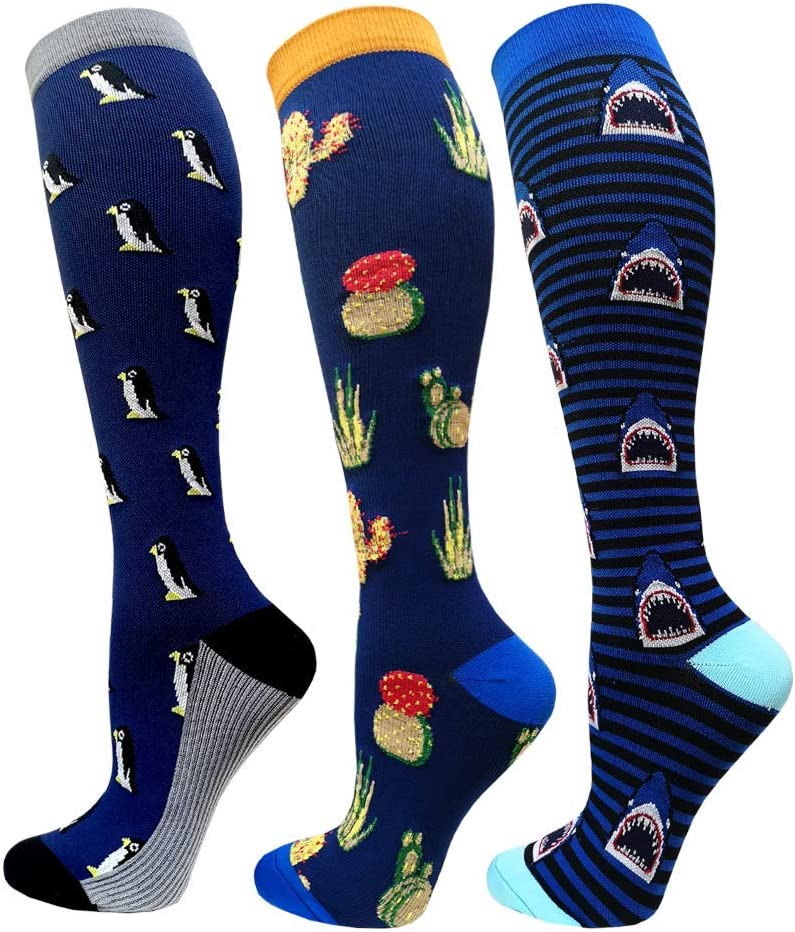 puppy + pink Pineapple + colourful hearts-3 Pairs,S//M Compression Socks for Women and Men-Best Medical,for Running,Nursing,Circulation /& Recovery Hiking Travel /& Flight Socks