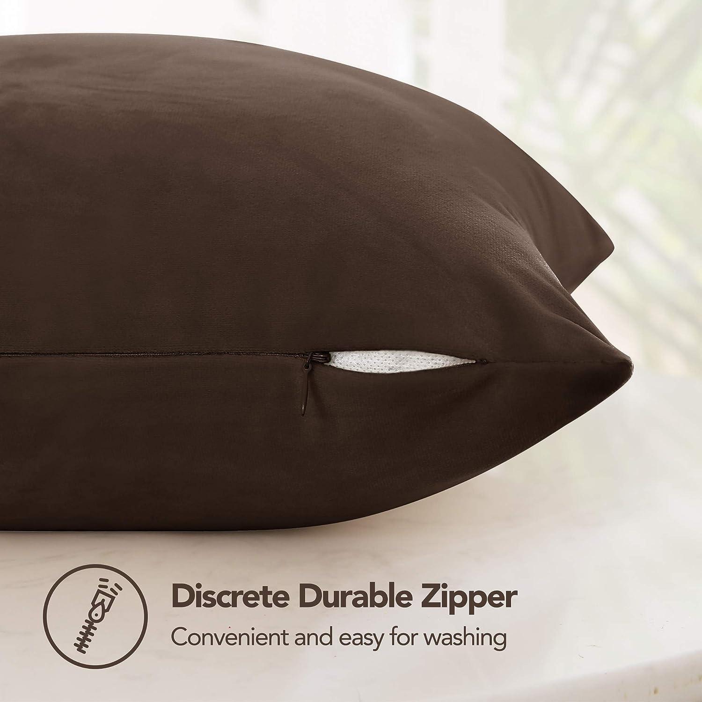 Deconovo - Funda de almohadón 45 x 45 cm de imitación de terciopelo supersuave con cremallera invisible para sillón decoración hogar