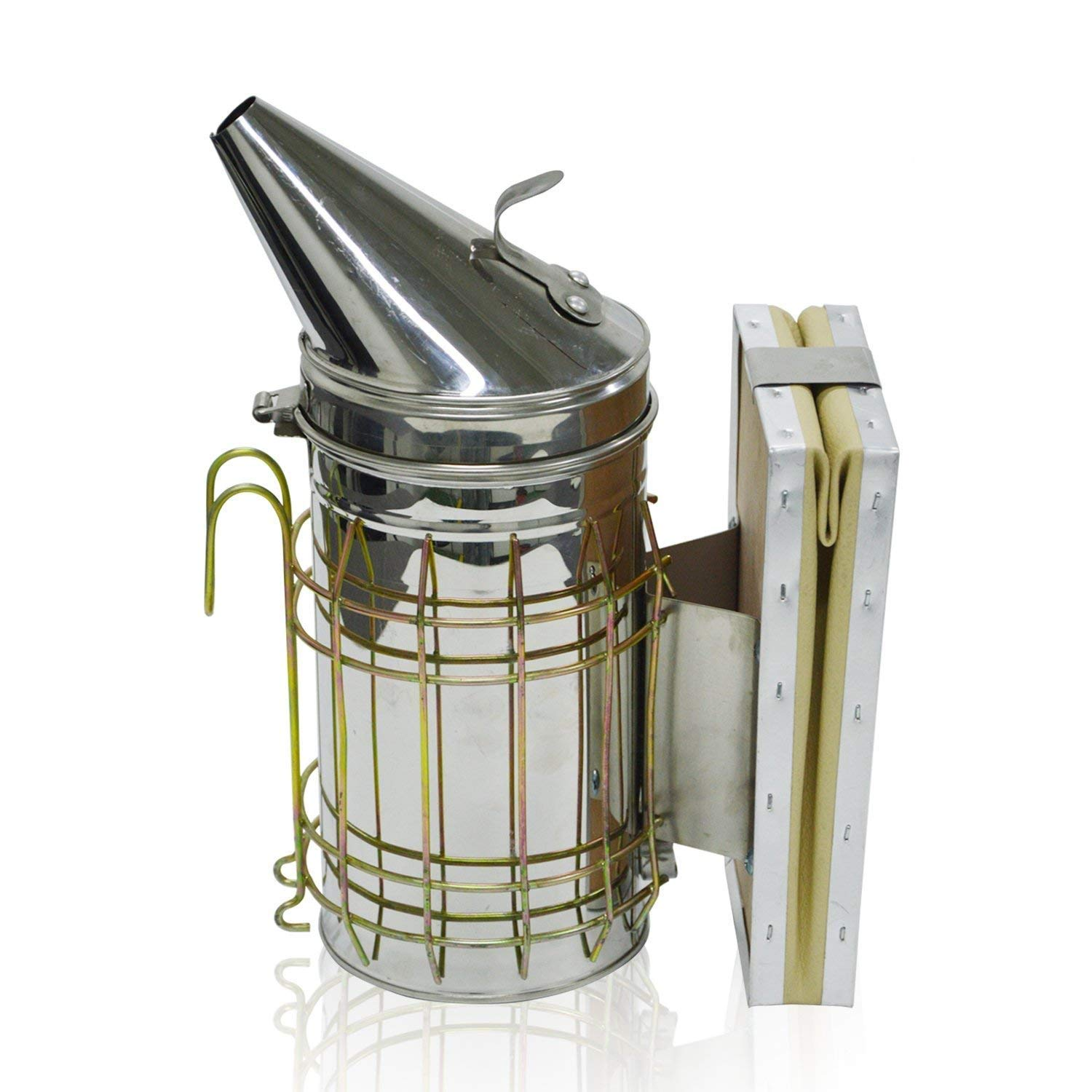 Beehive Smoker by Aspectek - Beekeeping Tools Equipment - Stainless Steel with Heat Shield Protection (11 x 8.5 inch) HR195