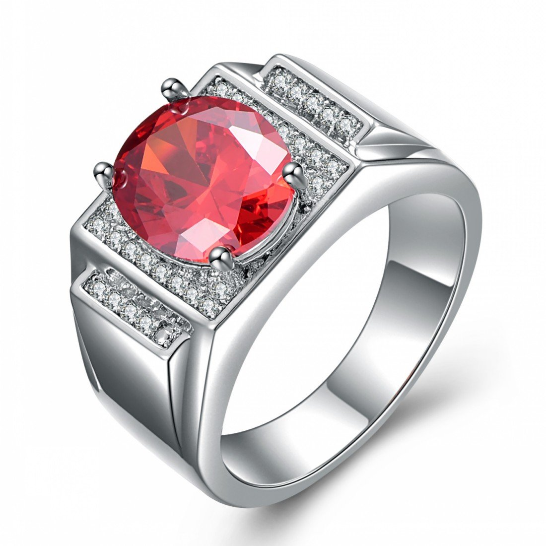 Songdetao Men's Oval Cut Ruby Garnet CZ White Gold I.P. Vintage Wedding Rings Size 8