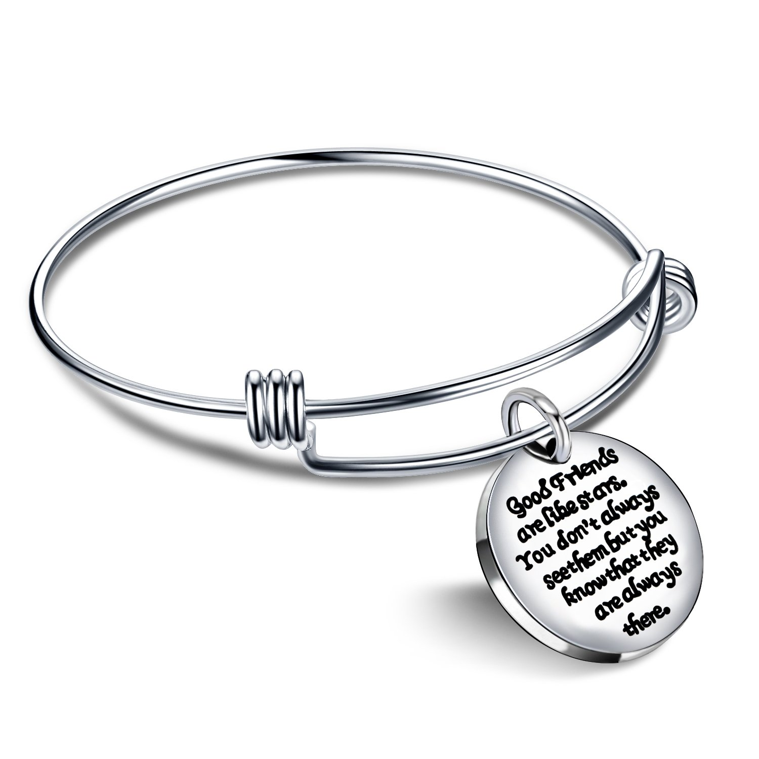 lauhonmin Expandable Bangle Bracelet - Good Friends are Like Stars Don't Always See Them but They are Always There AB037-CA