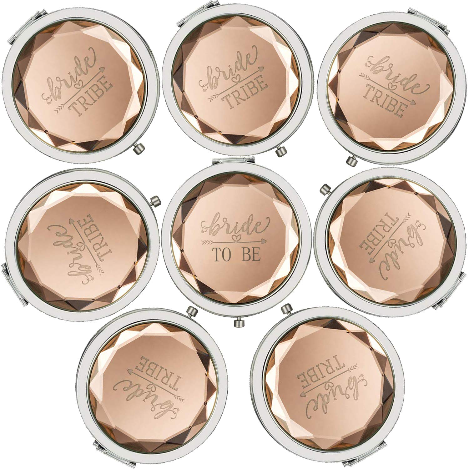Cuterui Bridesmaid Gifts Bride Tribe Compact Makeup Mirrors for Bachelorette Bridal Shower Gifts Pack of 8,Champagne