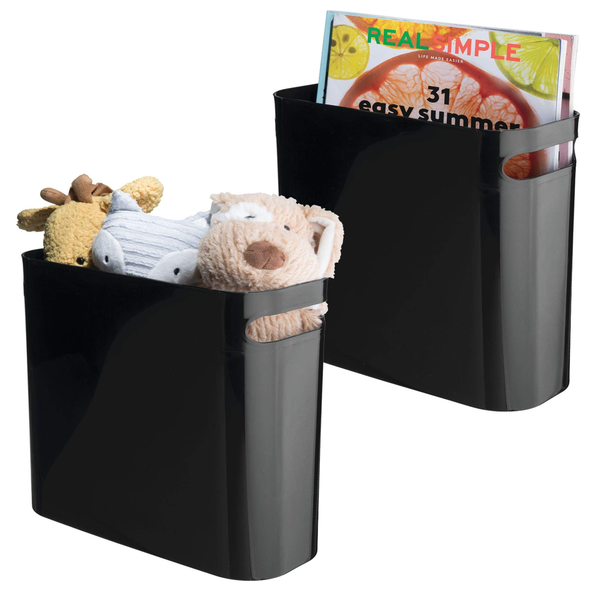 mDesign Plastic Storage Organizer, Holder Bin Box with Handles - for Cube Furniture Shelving Organization for Closet, Kid's Bedroom, Bathroom, Home Office - 10.75'' x 5'' x 10'' high, 2 Pack - Black