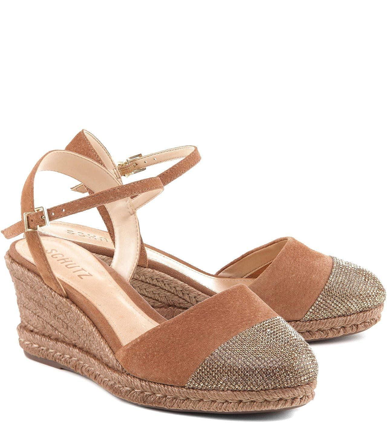 SCHUTZ Womens Fadri Dawn Tan Crystal Cap Toe Espadrille Wedge Pump Sandal