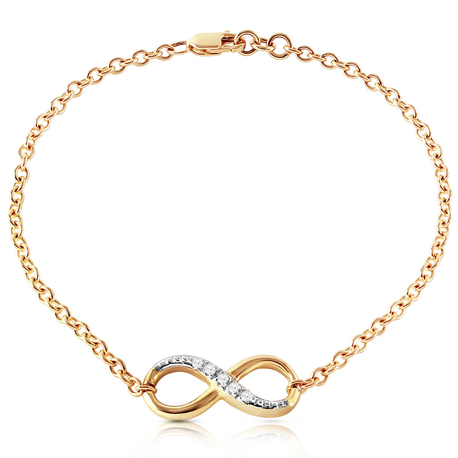 Galaxy Gold 14K Solid Gold Infiniti Bracelet with Natural Diamonds
