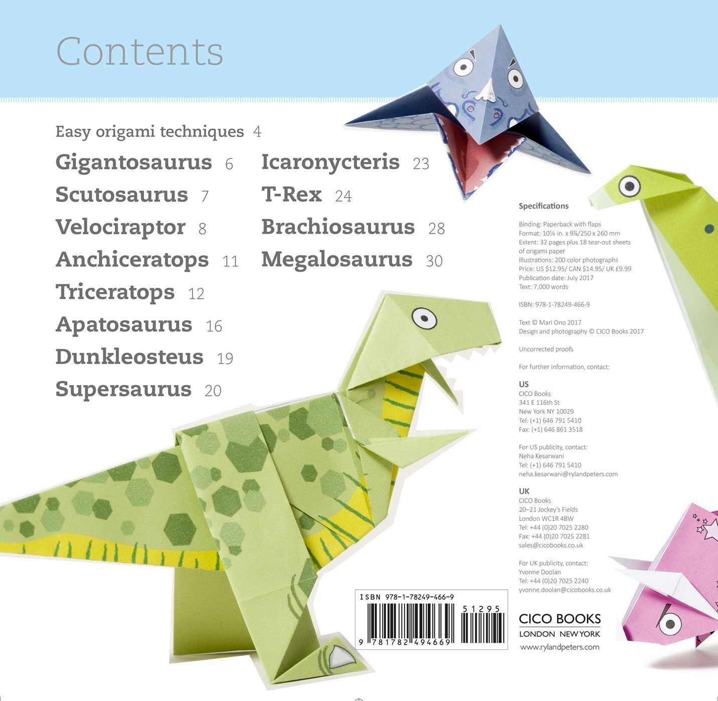 Fun Origami For Children Dino 12 Daring Dinosaurs To Fold Mari