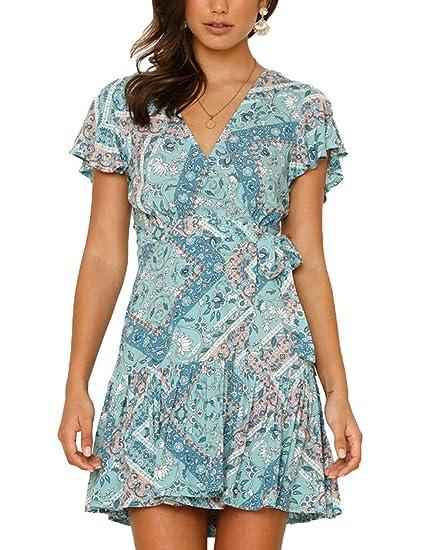 c5a999c6f7 HUHHRRY Women Sexy Short Mini Dress Bohemia High Waist Floral Printed  Ladies Sundress Dress Blue