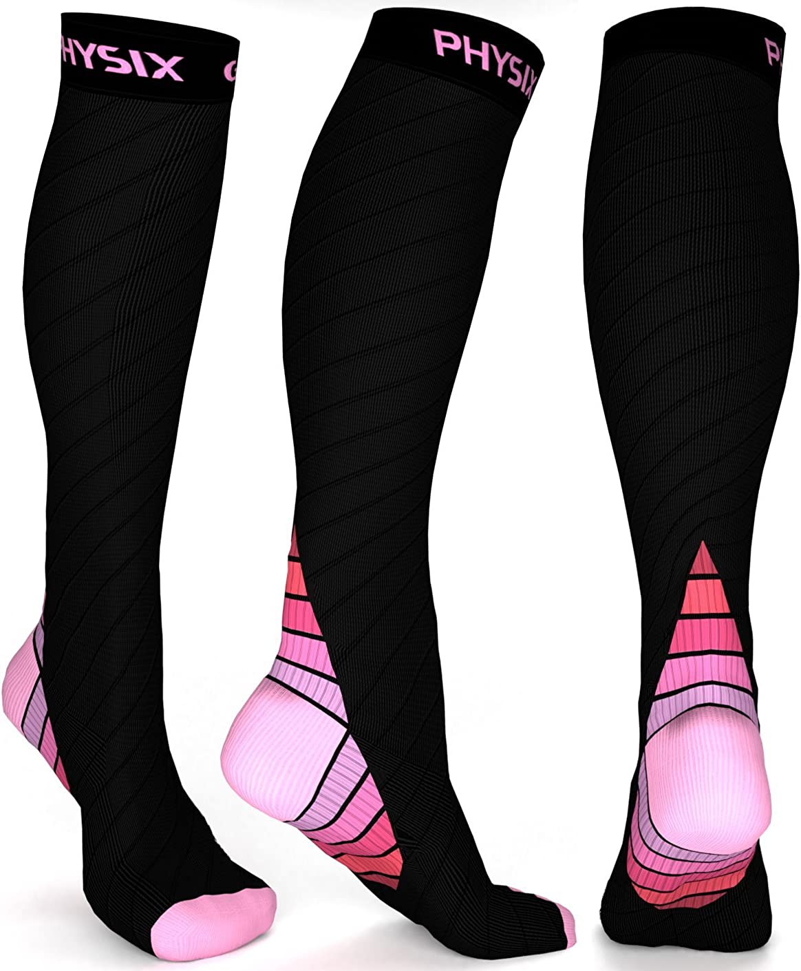 Physix Gear Compression Socks for Men /& Women 20-30 mmhg Best Graduated Athletic Fit for Running Nurses Shin Splints Flight Travel /& Maternity Pregnancy Boost Stamina Circulation /& Recovery PNK XXL