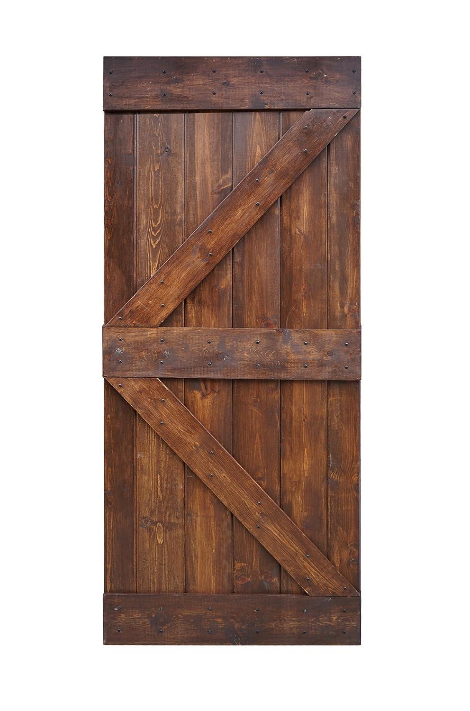 Wellhome 36inx84in K Series Diy Knotty Pine Sliding Barn Door Slab Dark Walnut