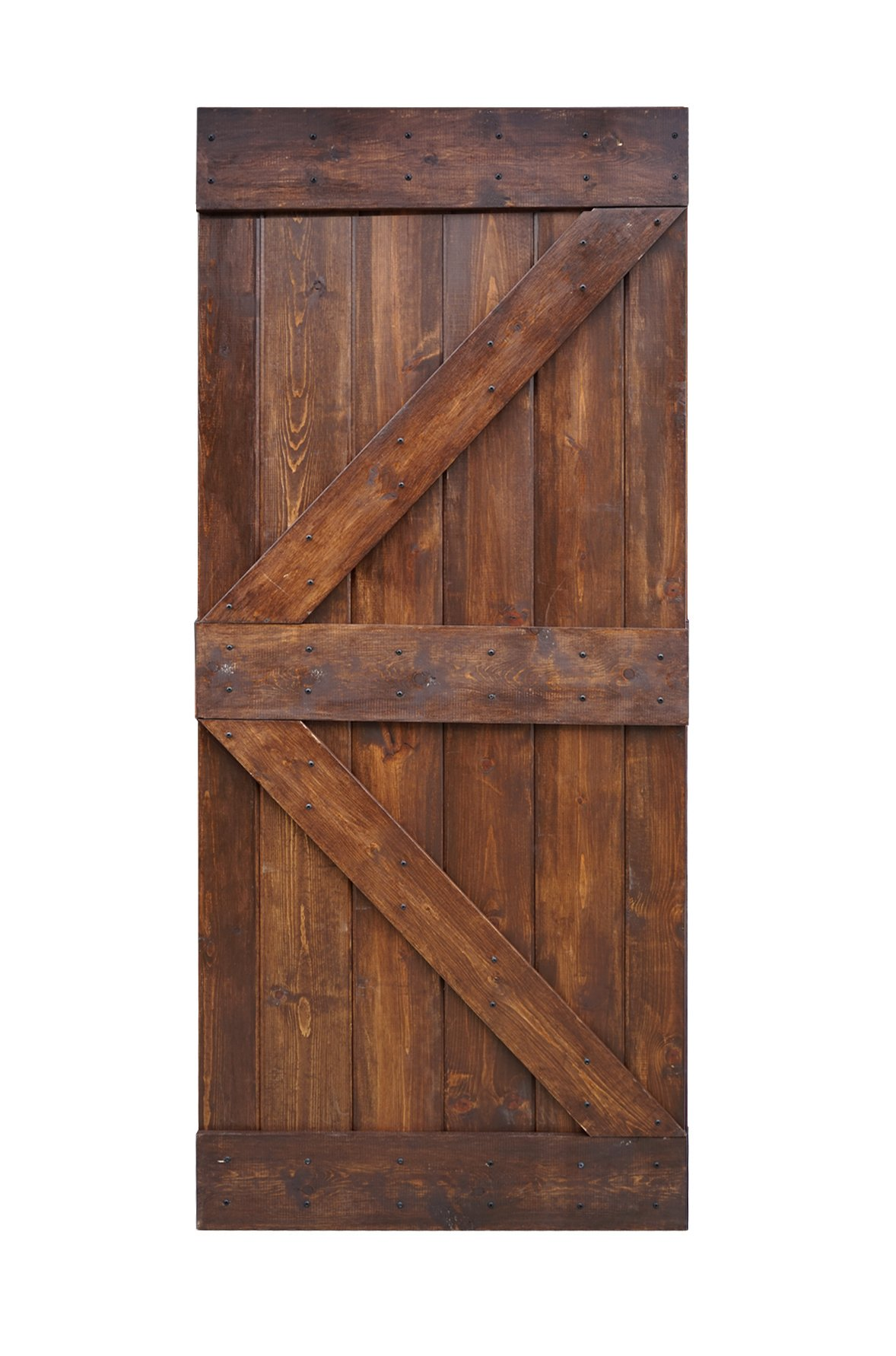 WELLHOME 36inX84in K Series DIY Knotty Pine Sliding Barn Door Slab (Dark Walnut) by WELLHOME
