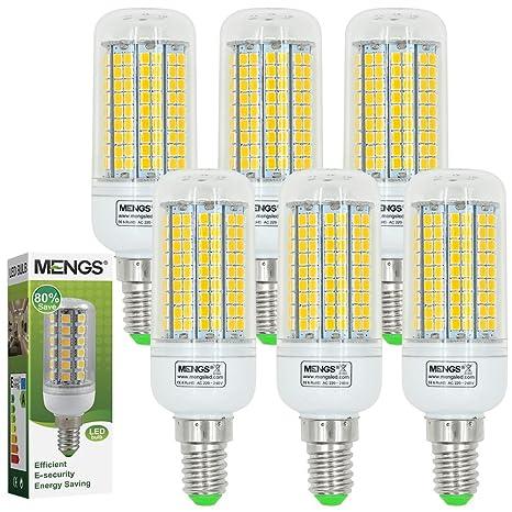 MENGS® Pack de 6 Bombilla lámpara LED 15 Watt E14, 180x2835 SMD, blanca