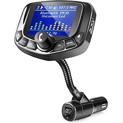"""ZEEPORTE Bluetooth FM Transmitter for Car, 1.8\"""" Color Screen Wireless Bluetooth FM Radio Adapter Type-C PD 27W Quick Charger with 5 EQ Mode, 3 USB Ports, 4 Music Play, Hands-Free Calls, TF Card, AUX: MP3 Players & Accessories [5Bkhe0405964]"""