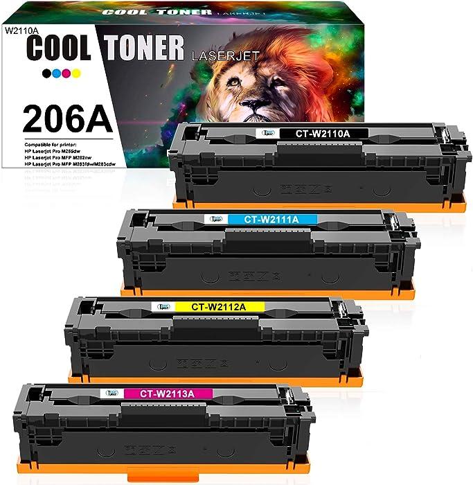 Cool Toner Compatible Toner Cartridge Replacement for HP 206A 206X W2110A W2111A W2112A W2113A Color Laserjet Pro M255dw MFP M283fdw M283cdw M283 M255 Printer Ink (Black Cyan Yellow Magenta, 4-Pack)