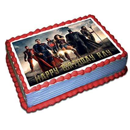 Pleasant The Justice League Personalized Cake Toppers Icing Sugar Paper 1 4 Funny Birthday Cards Online Kookostrdamsfinfo