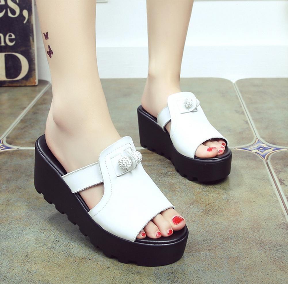 Hausschuhe Damen Sommer Mode dicken Hang mit kalten Pantoffeln High 1 Heels 1 High a2882c