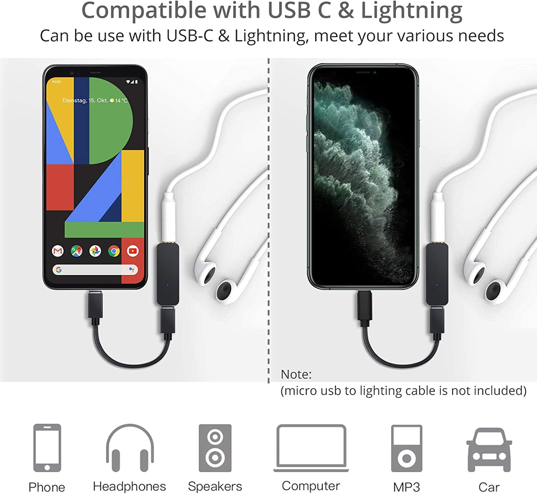 Proster USB C Type C DAC Convertisseur 192kHz Amplificateur de Casque Portable Type C /à 3.5 mm Adaptateur de Casque pour Syst/ème Android Smartphone iphone avec iOS 10 ou Version Ult/érieure