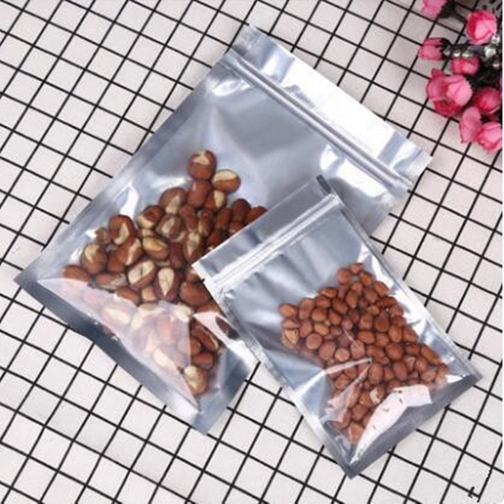 FERENLI 3.9x6.8 inch Clear Front Aluminum Foil Packing Bag Reclosable Mylar Plastic Zip Lock Package Pouch Food Snack Grocery Display Foil Bag Heat Seal 100 Pcs by FERENLI (Image #6)