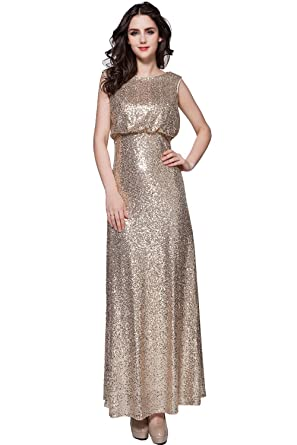 Annas Bridal Womens Scoop Sequin Evening Dresses Long Prom Gowns Gold UK6