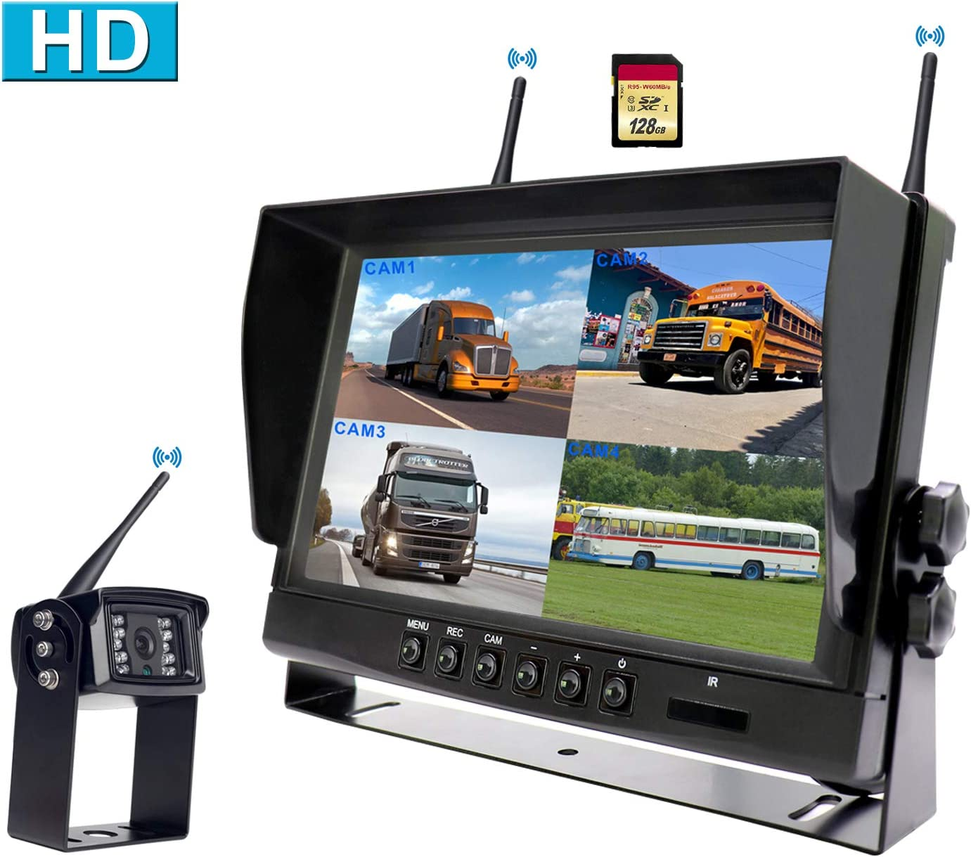 CAMONS Digital Wireless Backup Camera for RV, 9 Monitor Quad Split No Flicker, Built-in DVR, 120 HD Night Vision IP69 Waterproof Camera Rear Side Front with Mic Remote Control