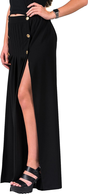 Emanuela. Falda larga de tiro alto, silueta recta con tajos. Color ...