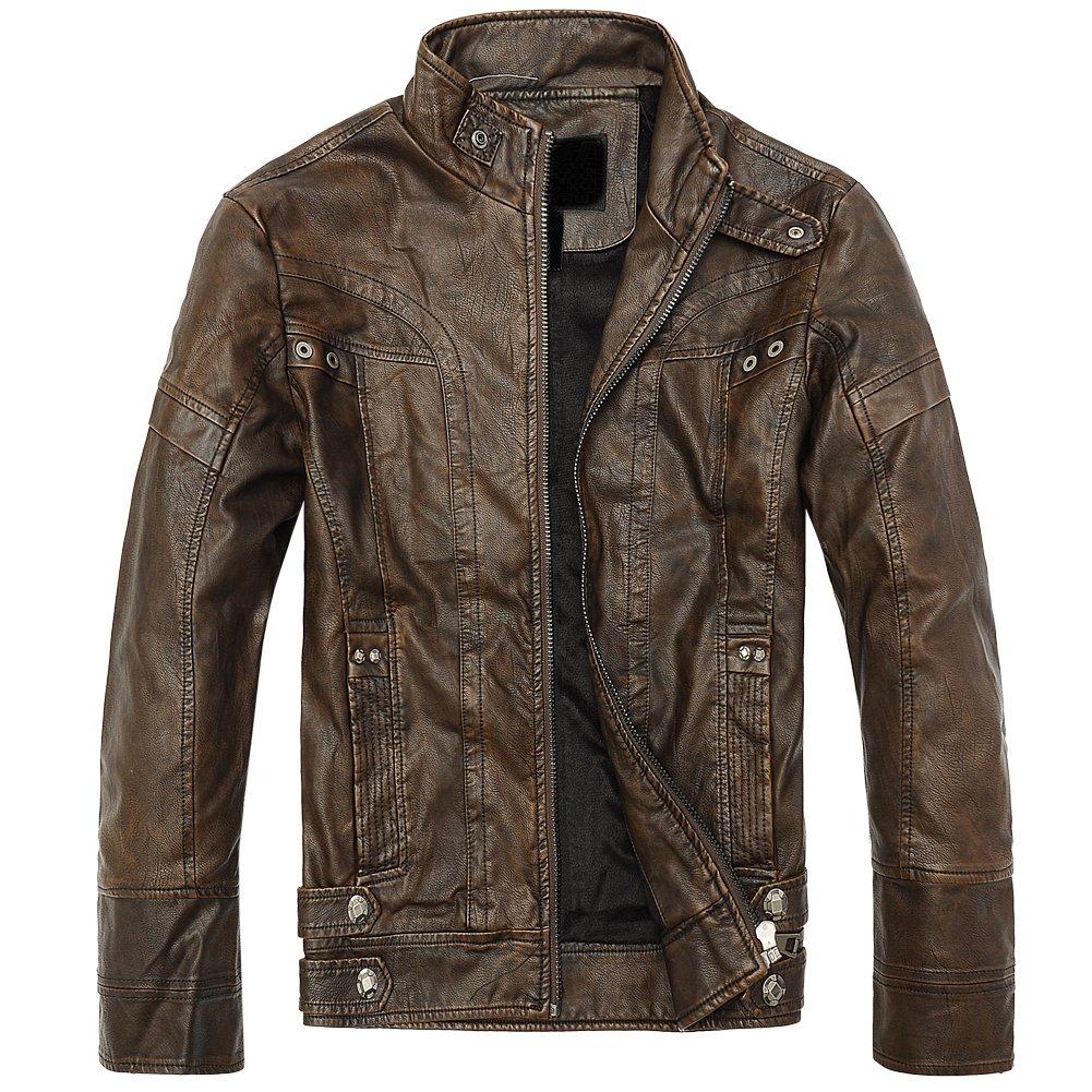 URBANFIND Men's Slim Motorcycle Coat Leather Jacket Fleece Winter Outerwear Faux Leather Jacket 01012