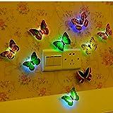 12 PCS Colorful Stick-on Mood Light LED Butterflies Night Light Sticker Toy Wall Decoration Light Mood Light for Festival Party Birthday Wedding Xmas Nursery Bedroom Door Window