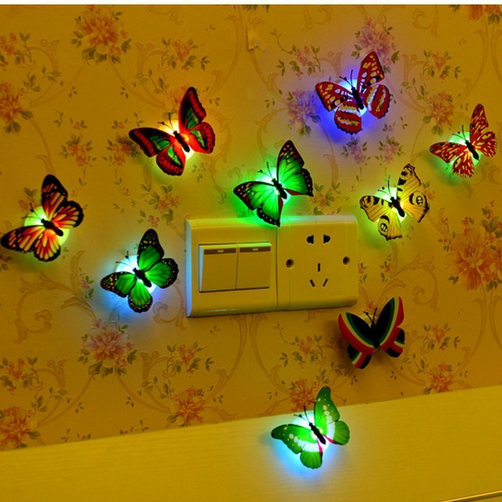 12 PCS Colorful Stick-on Mood Light LED Butterflies Night Light ...