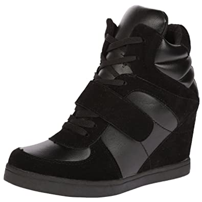 371ce0efa124 ByPublicDemand Becky Womens Concealed Wedge Heel Lace Up Trainers ...