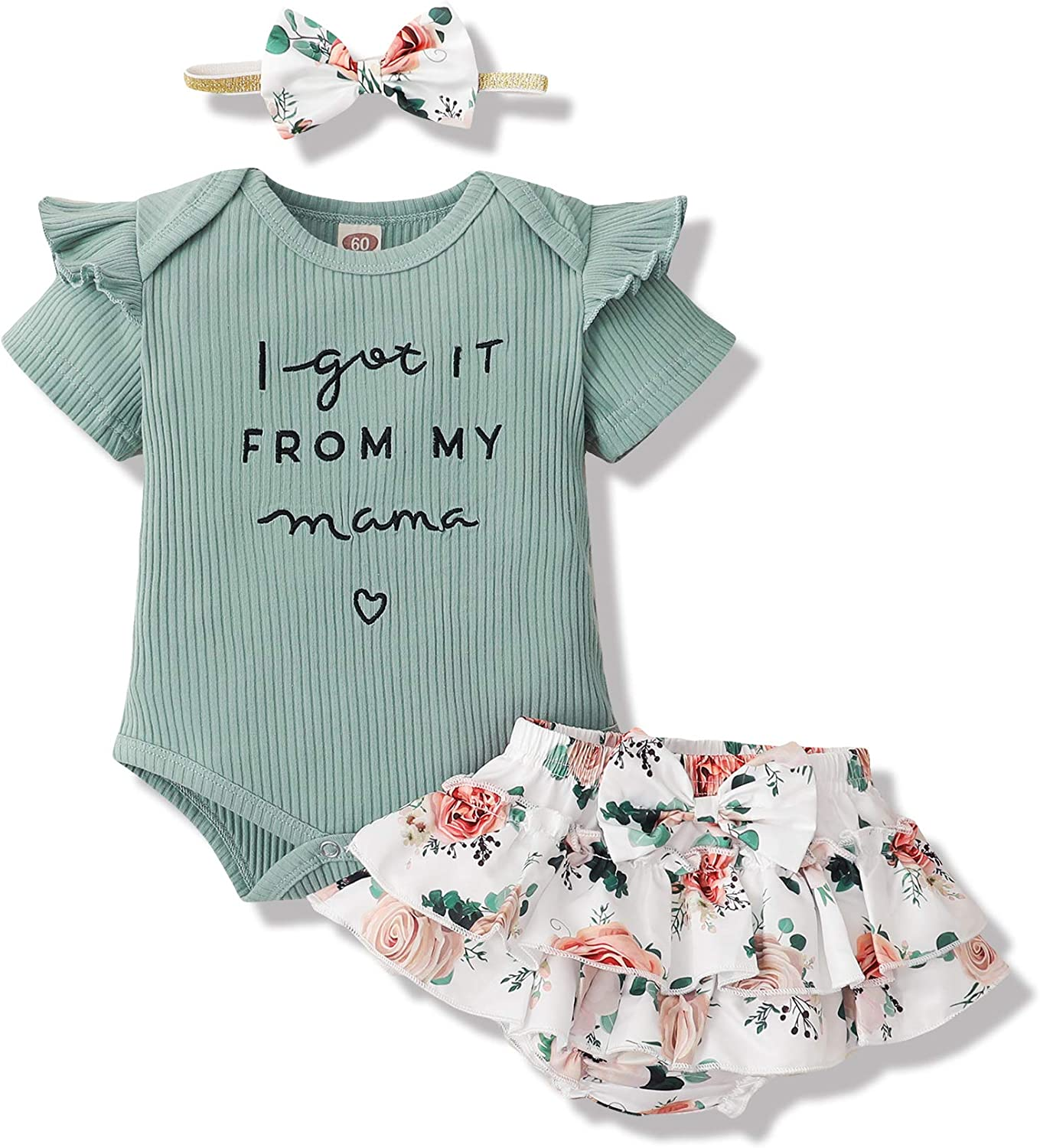 Newborn Baby Girl Clothes Infant Ruffle Romper Onesies Floral Pants Baby Girls Clothing Outfits