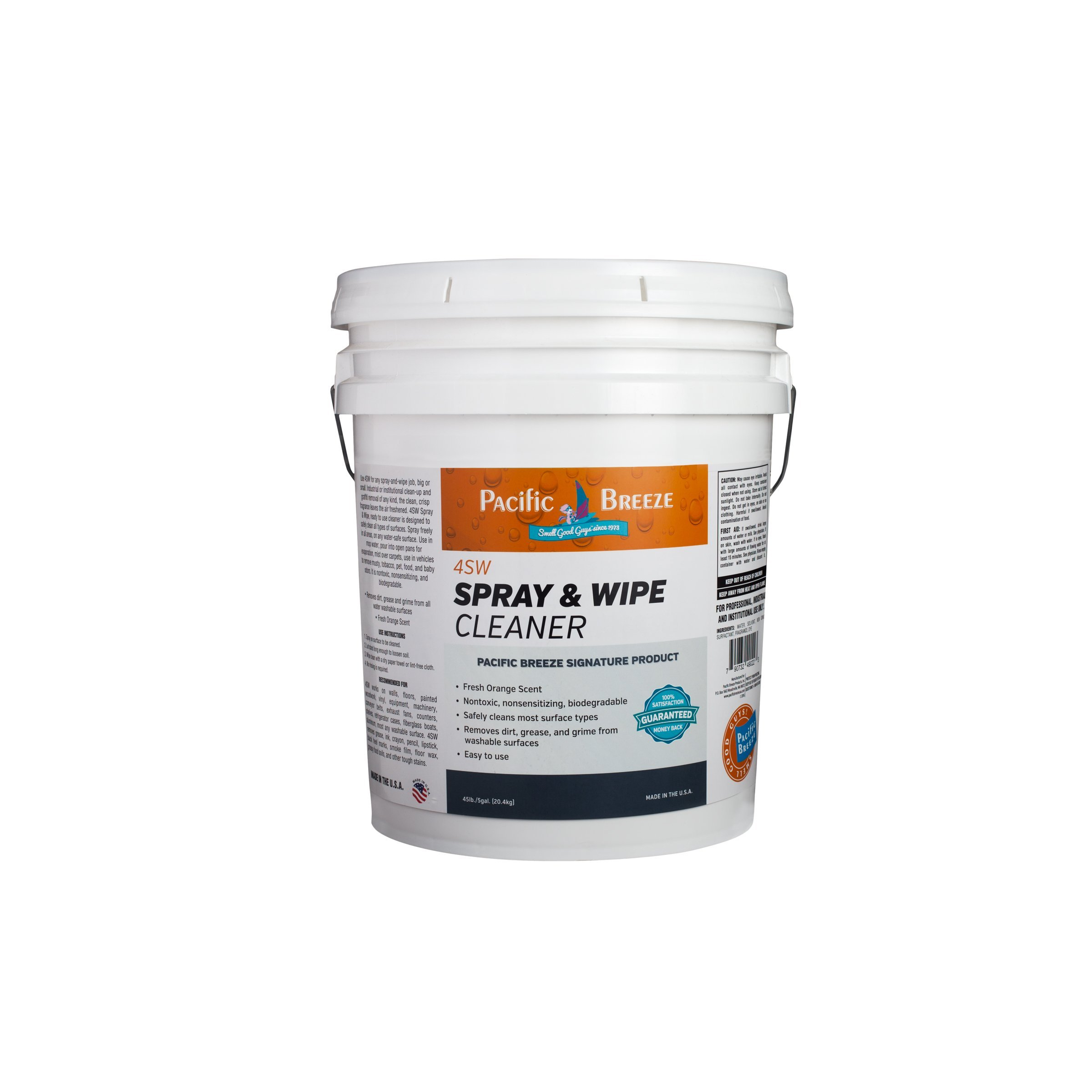 Pacific Breeze Products 4SW For Dirty, Greasy, Grimy Surface Cleaner - Fresh Orange Scent 5 Gallons