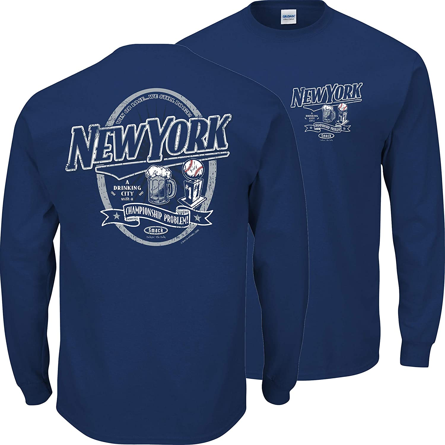 A Drinking City with a Championship Problem Navy T-Shirt Sm-5X Smack Apparel New York Baseball Fans