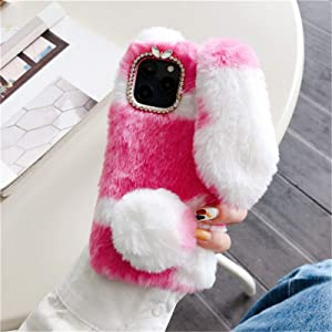 HPHRE Fuzzy Fluffy Bunny Ear Cases Compatible with iPhone 6S Plus - Cute Furry Red Plush Rabbit Fur Phone Cases for Girls Women Winter Warm Soft Back Shockproof Protective Cover with Bling Glitter