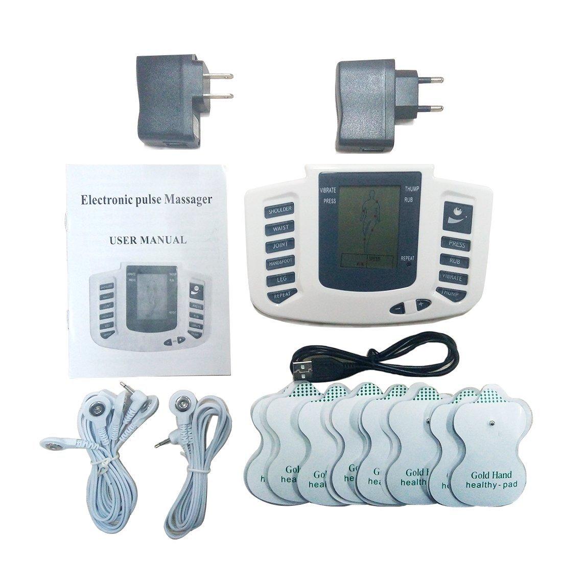 Back Care Stimulateur électrique Tens Complet du Corps Relax Stimulateur Musculaire pour Électrothérapie Douleur Gestion 16Tampons