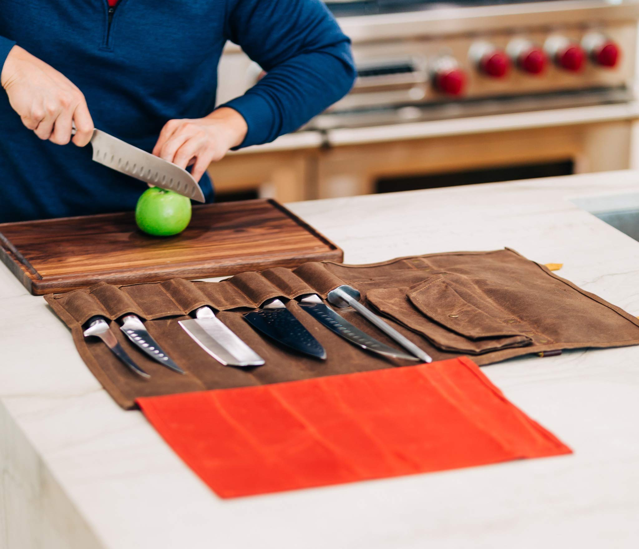 Chef's Knife Roll Bag Durable Waxed Canvas Carrier Stores 8 Knives PLUS Detachable Storage Unit for Culinary Accessories | Portable Chef Knife Case with Leather Shoulder Strap | Knives not Included by Katana Chef (Image #5)
