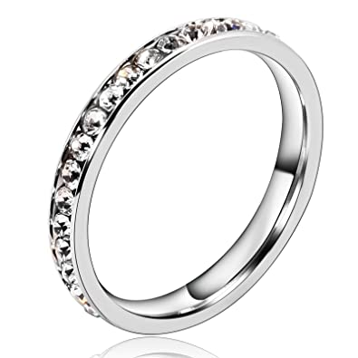 Beydodo Edelstahl Damen Verlobungsringe Trauringe 3mm Silber