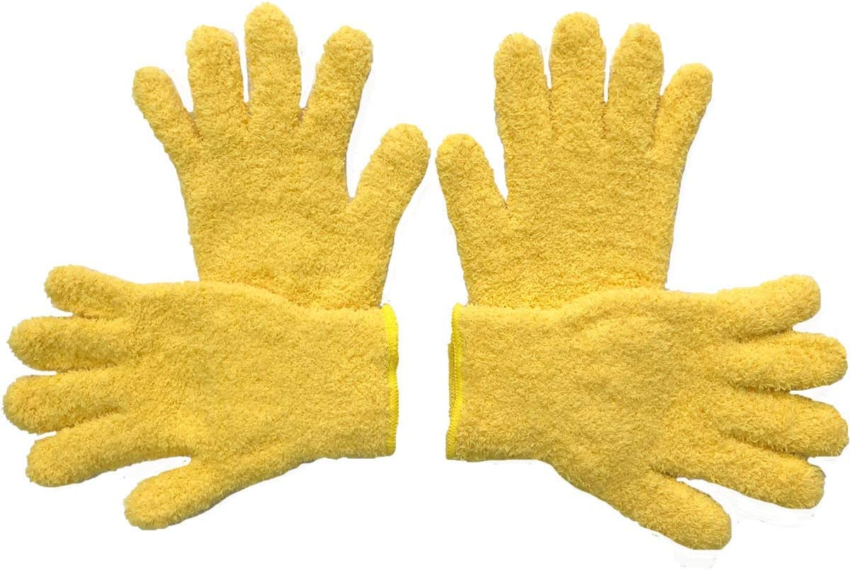 SJIE Microfiber dusting Gloves, Great to dust LCD Screens Electric appliances, Furniture,louvers, Mirrors,Blinds, Excellent dusting Product for car Inside &Outside (Yellow 4pcs)