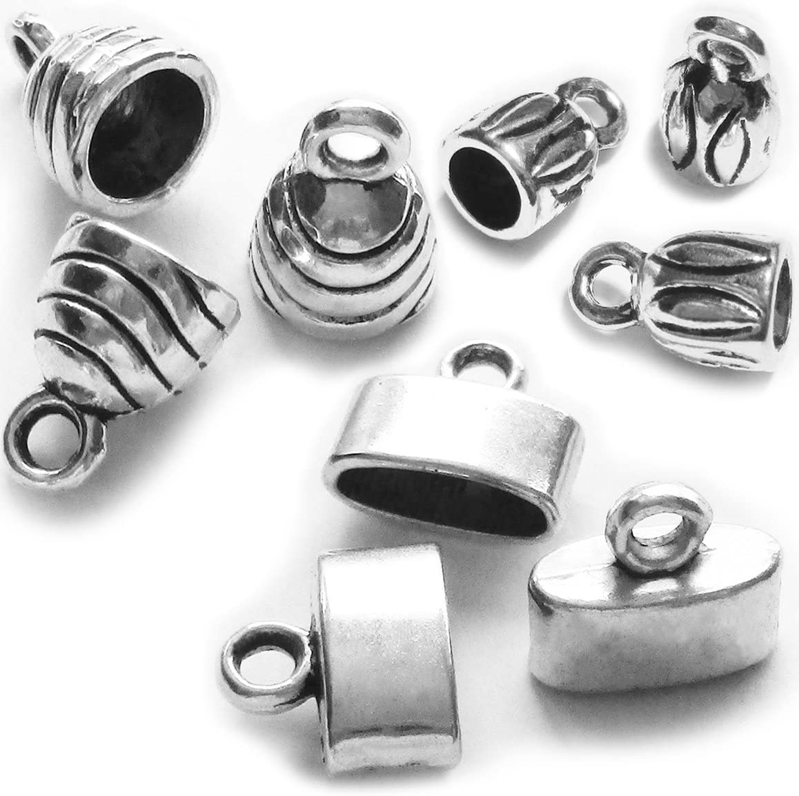 End Caps for Leather/& Cord Jewelry Tibetan Silver
