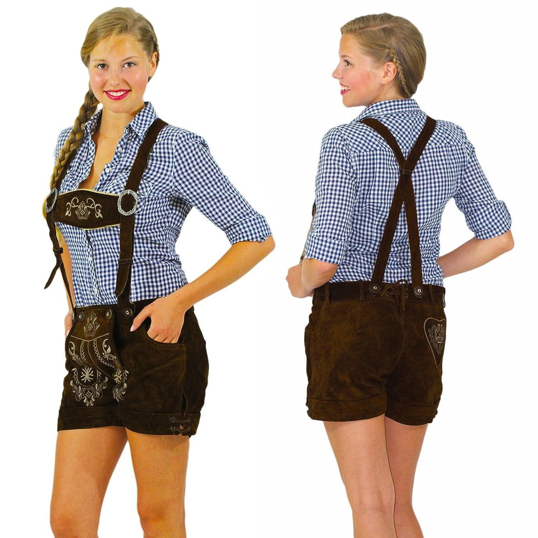 Kurze Damen Trachten Lederhose in dunkelbraun inklusive verstellbarer Träger