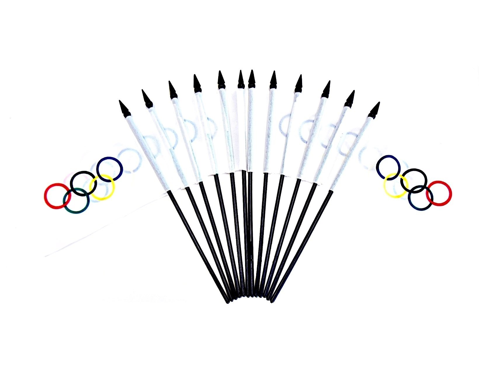 LICENSED Olympic Flags!! PACK of 12 4''x6'' Olympic Miniature Desk & Table Flags, 1 Dozen 4''x 6'' Olympic Rings Small Mini Stick Flags