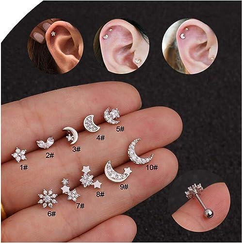 Square Body Piercing Jewelry Zircon Ear Studs Tragus Earrings Cartilage Helix