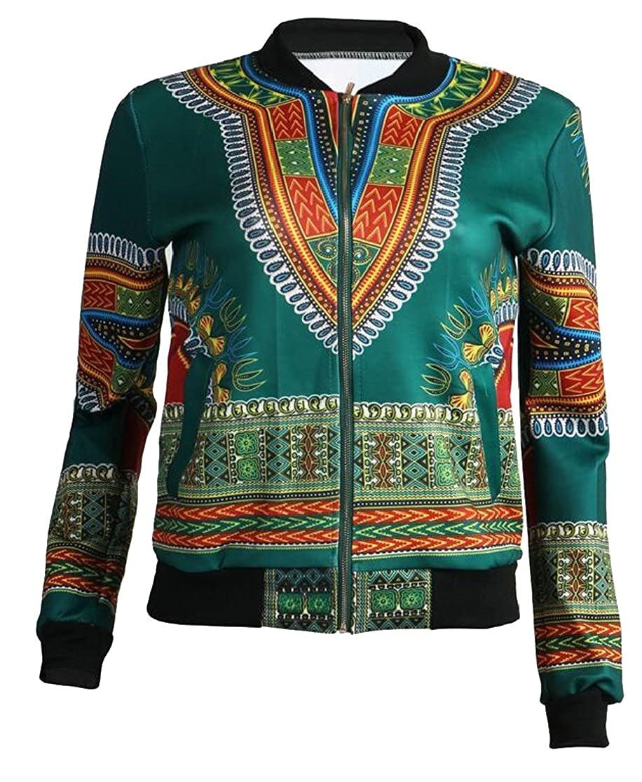 M/&S/&W Womens Classics Zip up Painting African Style Bomber Jacket Outwear Coat
