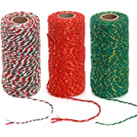 Ewparts 3 Roll Christmas Twine Cotton Ribbon Twine Rope or Gift Wrapping, Arts Crafts, 984 Feet (Multicolored A, 2MM)