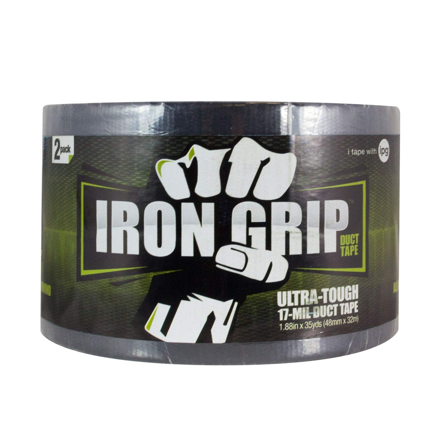 IPG Iron Grip 17 Mil Heavy Duty Duct Tape 1.88'' x 35 yd, Black, 2-Pack