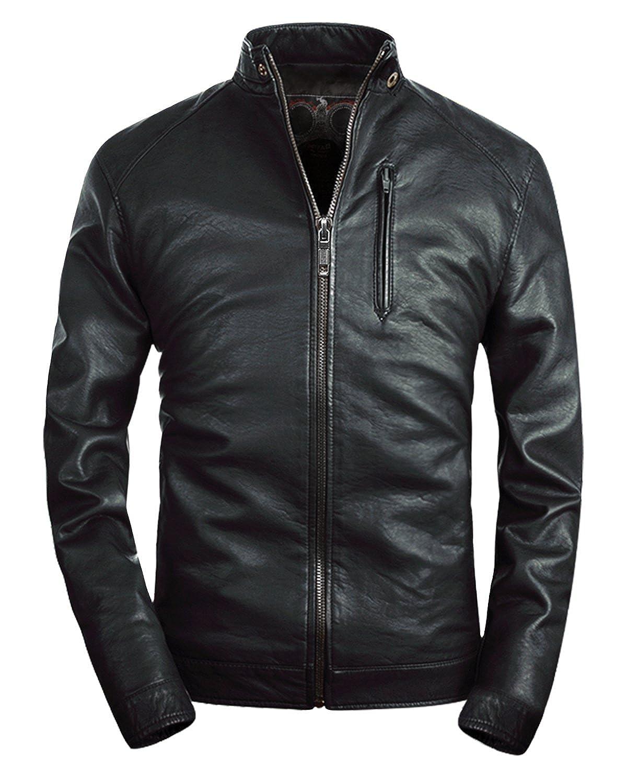 b163052b3 Fairylinks Mens Leather Jacket Classic Moto Zip Up Black