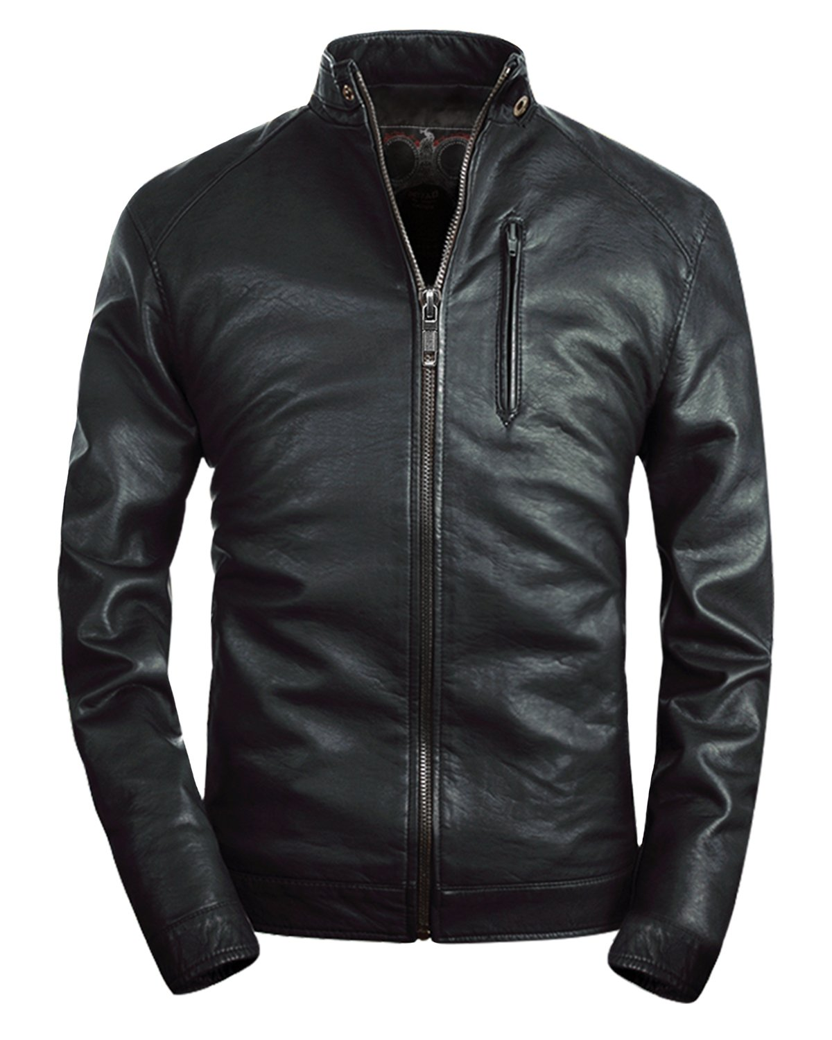 Fairylinks Mens Stand Collar Faux Leather Jacket Classic Moto Zip up Black, US S