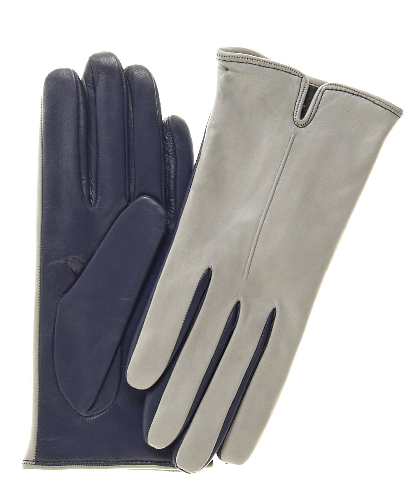 Fratelli Orsini Women's Touchscreen Italian Cashmere Lined Leather Gloves Size 6 Color Grey/Blue by Fratelli Orsini
