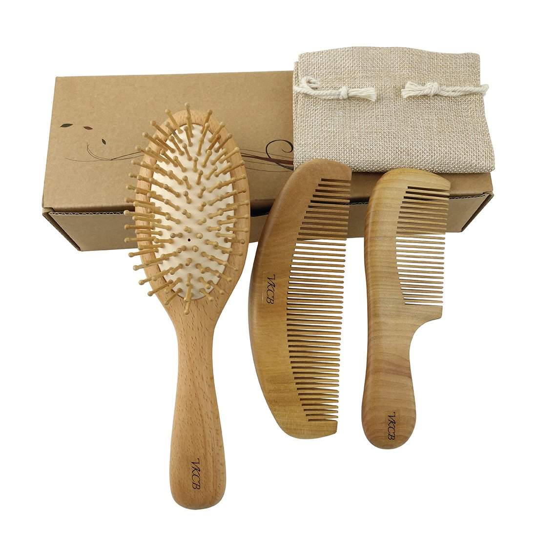 Natural Wood Hair Brush with Wooden Bristles Massage Scalp Comb and Peach Wood Beard Comb for Men and Women 3 pcs vklw