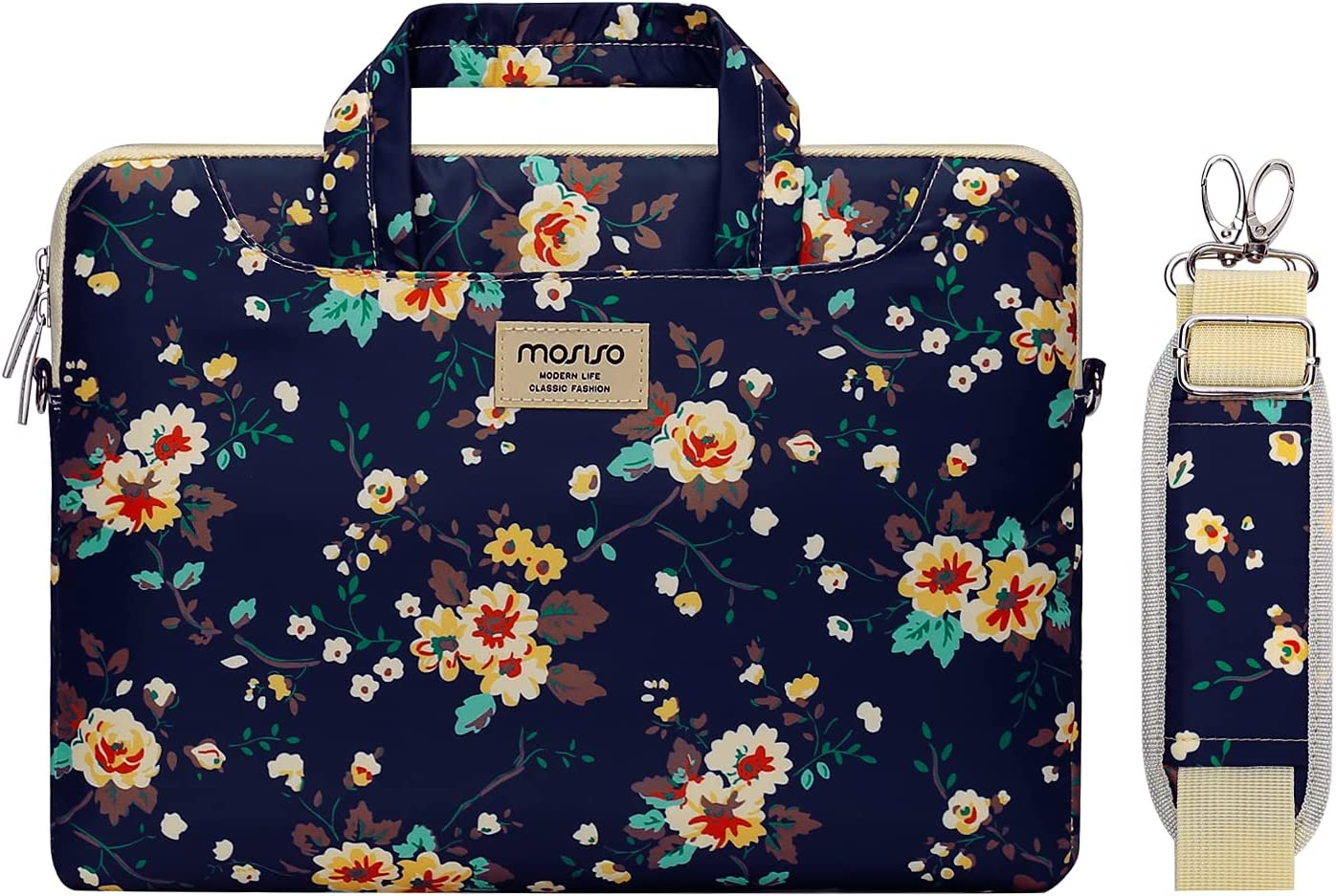MOSISO Laptop Shoulder Bag Compatible with MacBook Pro 16 inch A2141, 15 15.4 15.6 inch Dell HP Acer Samsung Sony Chromebook, Polyester Coreopsis Carrying Briefcase Sleeve with Trolley Belt