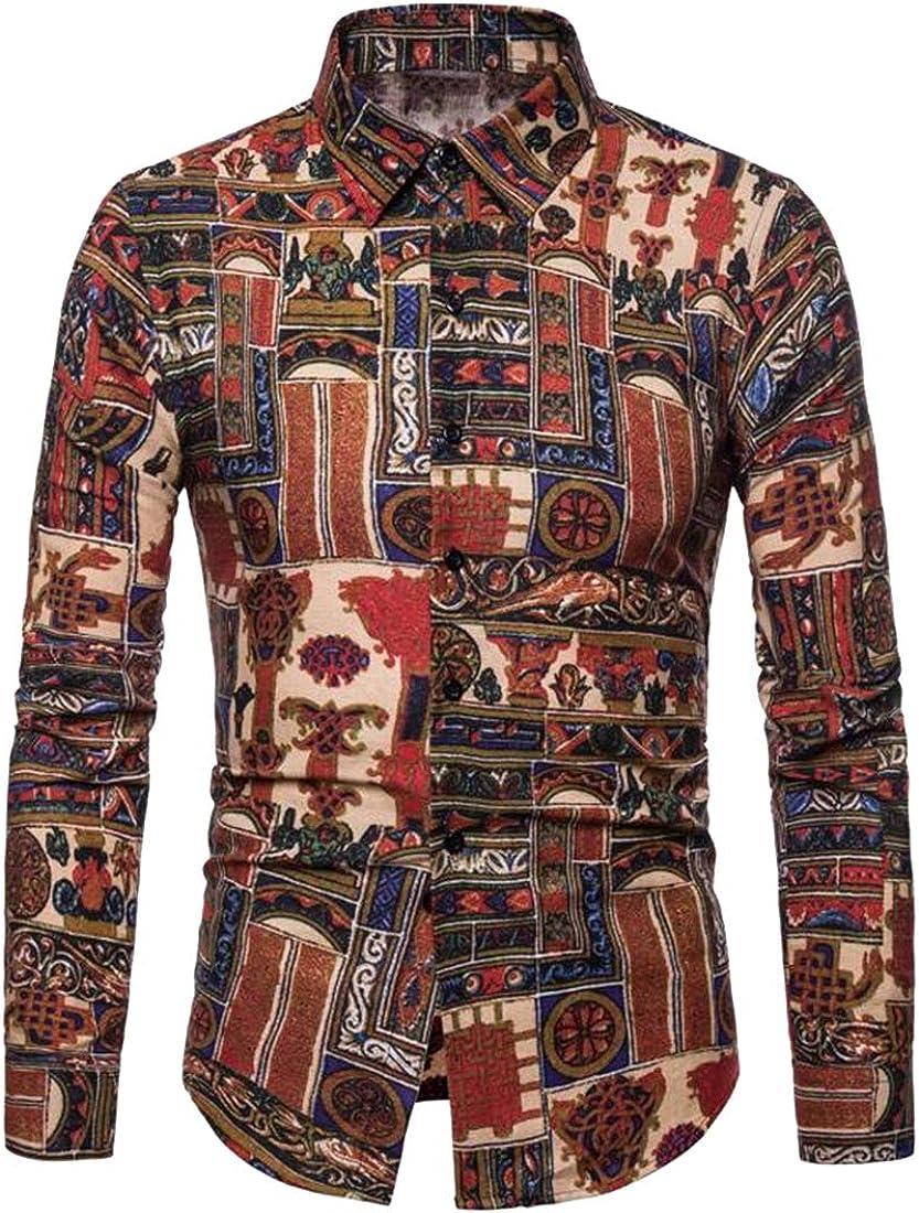 YYG Mens Fall Winter Long Sleeve Casual Floral Print Button Down Shirt Top