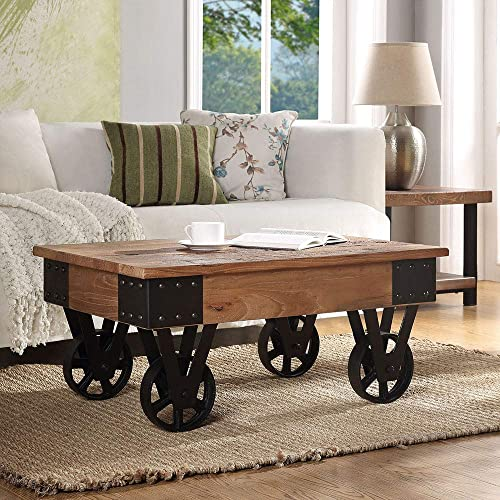 Distressed Coffee Table Recycle elm with Wheels, Natural Wood